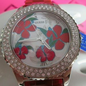 Guess Red Hibiscus Watch Sarovski Crystals NWT